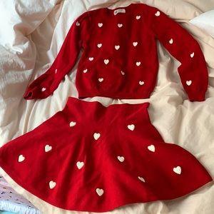 Girls H&M heart sweater and skirt